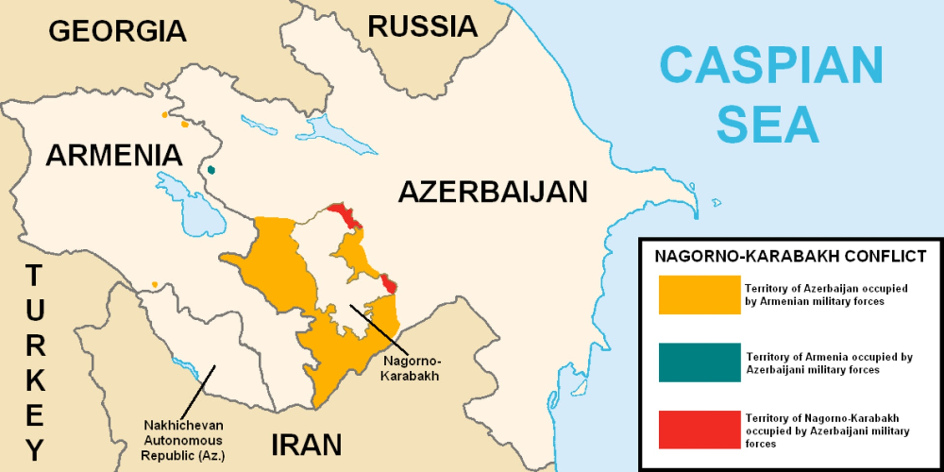 纳卡冲突下的各方势力分布,左下为纳希切万。(维基百科公有领域)