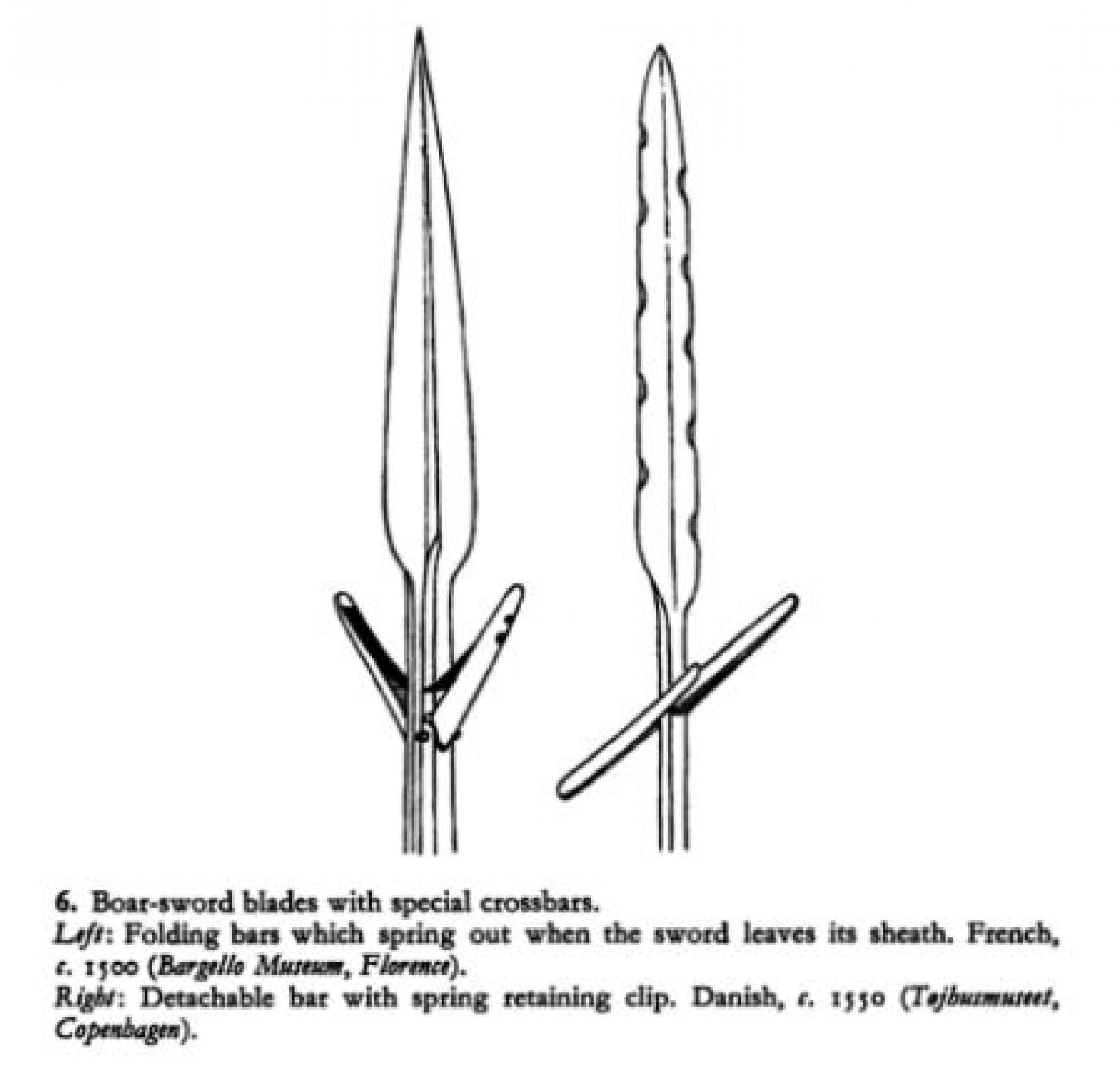 Boar sword的使用方法跟Boar spear 差不多,也是可以站穩,讓獵物衝過來再刺穿牠。(《Hunting Weapons: From the Middle Ages to the Twentieth Century》,Howard L. Blackmore ,P.10)