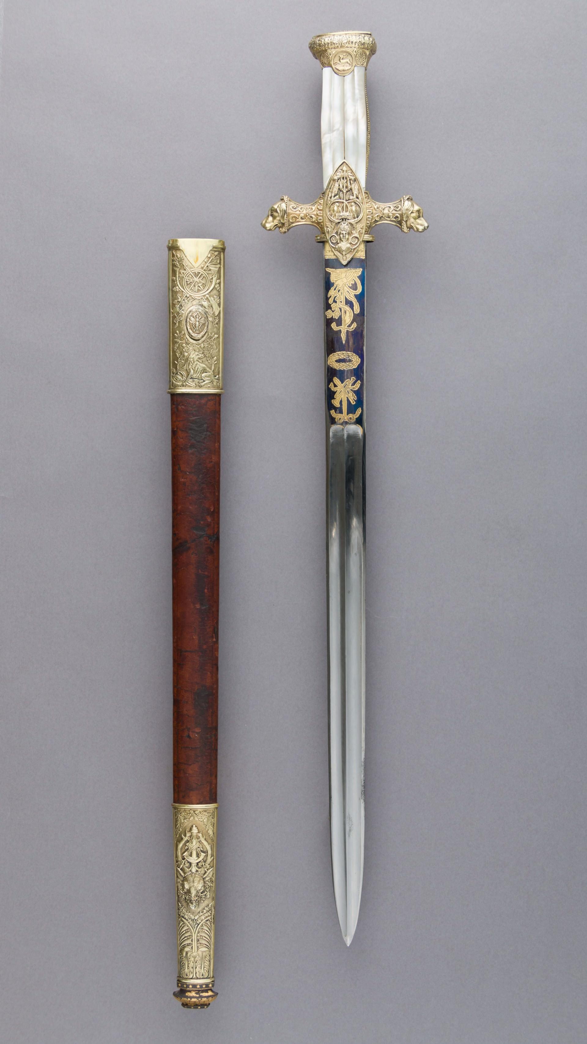 18世紀末,拿破倫的妹夫 Prince Camillo Borghese 的Hunting Sword (狩獵劍)。狩獵劍的作用是給予受傷的動物最後一擊,此時火槍已經出現,可用以節省子彈。(圖片擷取自 Wikimedia)
