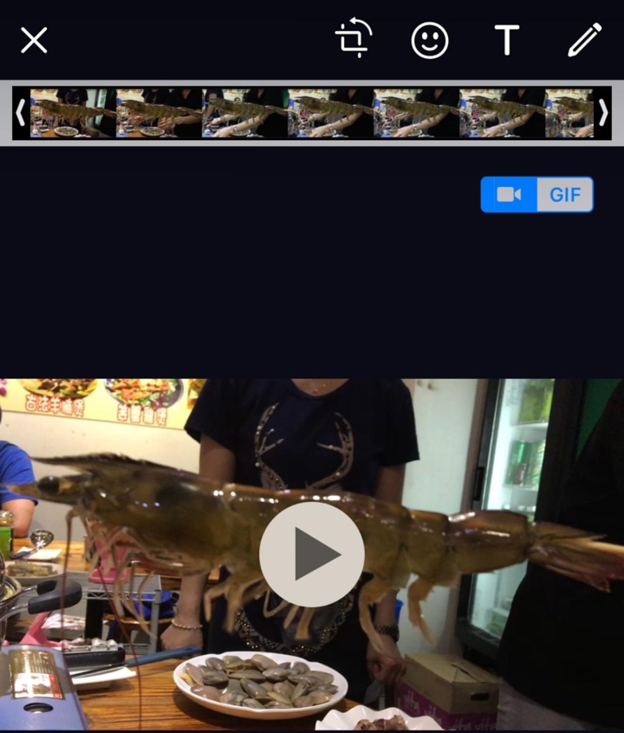 選取右上方的「GIF」,可將6秒以下的影片變成GIF傳送。