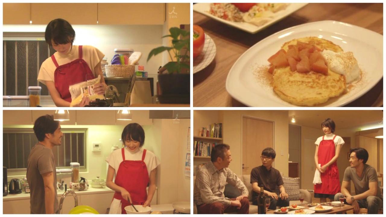 劇中的糖漬蘋果熱香餅是美栗招呼平匡朋友的甜品。(TBS截圖)
