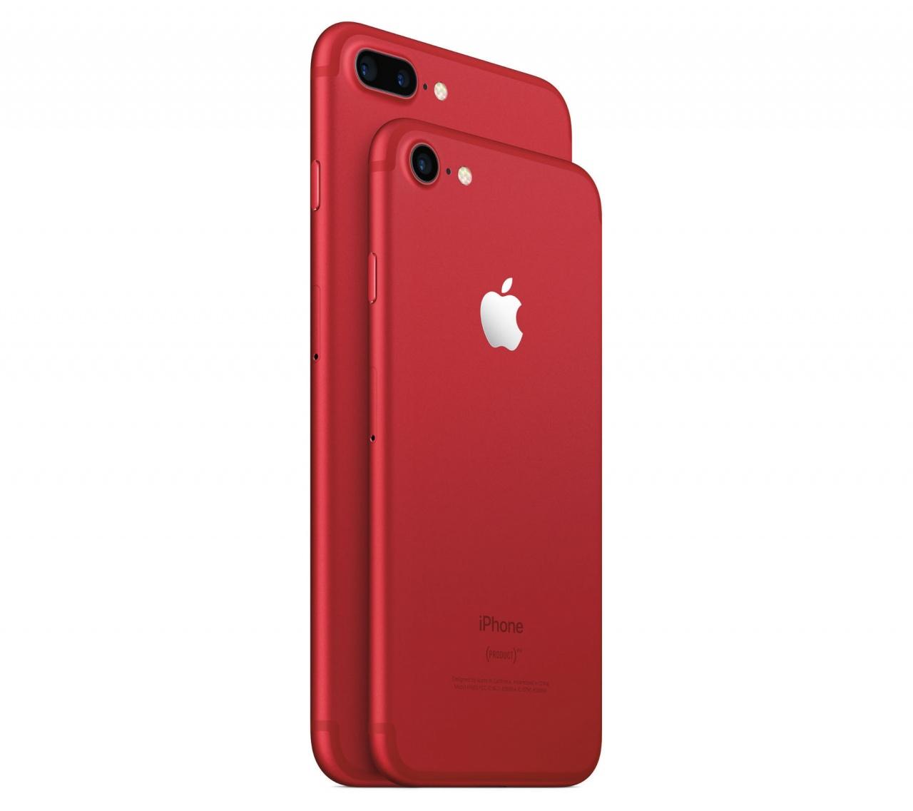 (PRODUCT)RED版本的iPhone包括iPhone 7及iPhone 7 Plus,機背Apple標誌以銀色處理,記者自己就比較喜歡之前iPod Touch版本的閃亮紅色Apple標誌。(Apple)