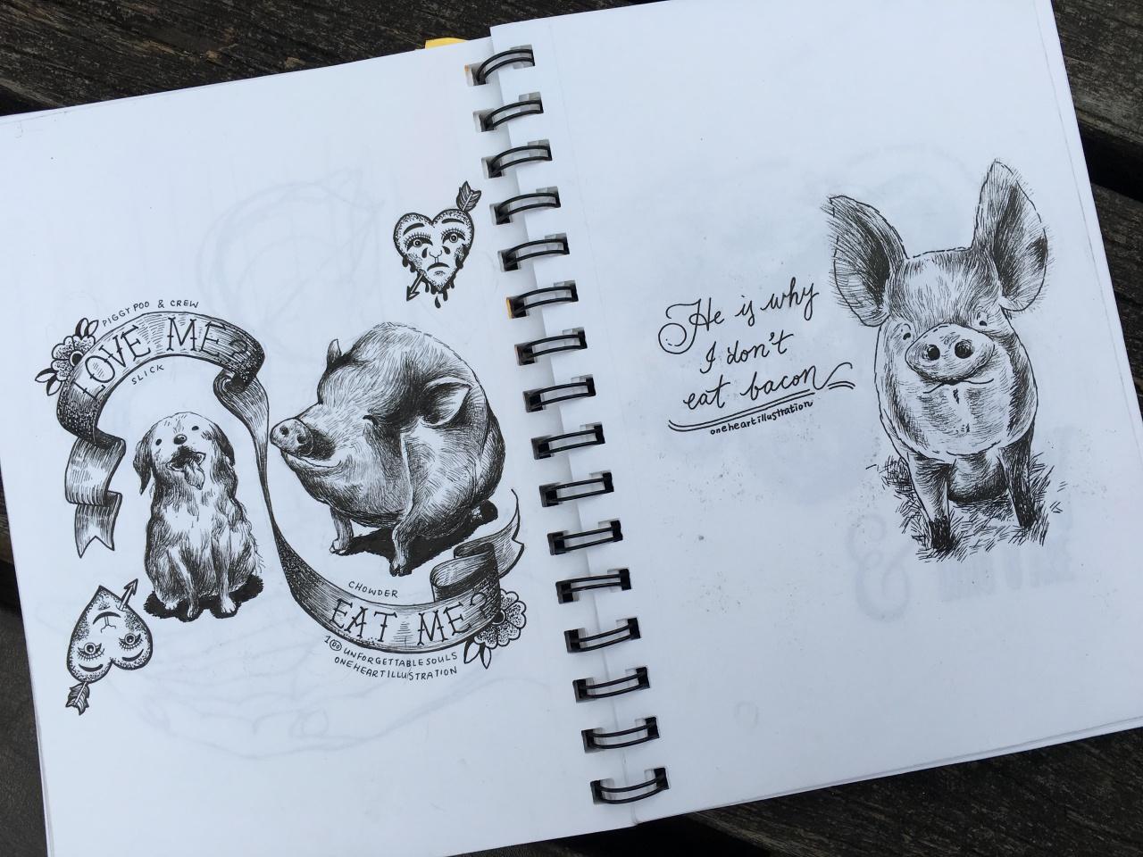 一芯隨身攜帶的素描畫簿,畫簿內都是動物,畫得最多的是豬牛羊小雞小鴨。(吳韻菁攝)