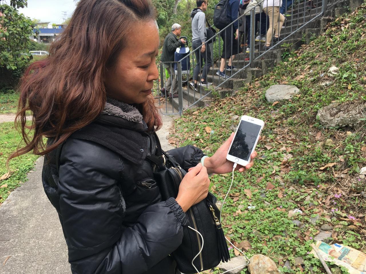 朱小姐向記者展示牛群過牛路的情況,她希望車主不要駕駛得太快,要顧及牛群。(吳韻菁攝)