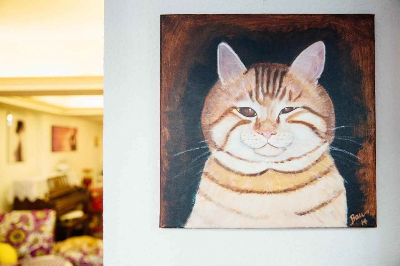 老虎仔的粉絲為牠繪畫的作品。(鍾偉德攝)